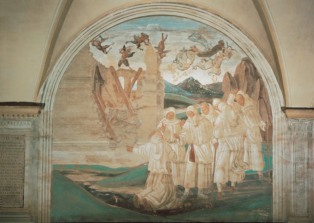 Stock Photo: 1899-31437 God Punishing Fiorenzo, by Signorelli Luca, 1497 - 1498, 15th Century, fresco. Italy, Tuscany, Chiusure, Siena, Monte Oliveto Maggiore Abbey. Whole artwork. Cycle of the stories of St Benedict Fiorenzo is punished by God destruction of the church fall charge by a group.
