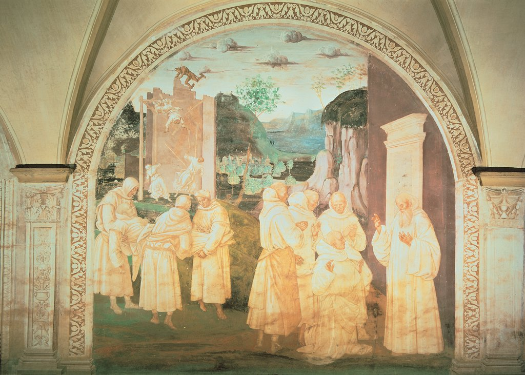 Stock Photo: 1899-31439 Benedict Resuscitating the Monk upon Whom the Wall Had Fallen, by Signorelli Luca, 1497 - 1498, 15th Century, fresco. Italy, Tuscany, Chiusure, Siena, Monte Oliveto Maggiore Abbey. Whole artwork. Episode of the life of St Benedict of Norcia how Benedict resuscitates the monk upon whom the wall had fallen three scenes in the background the wall fall in the foreground on the left transport of the sick man r.