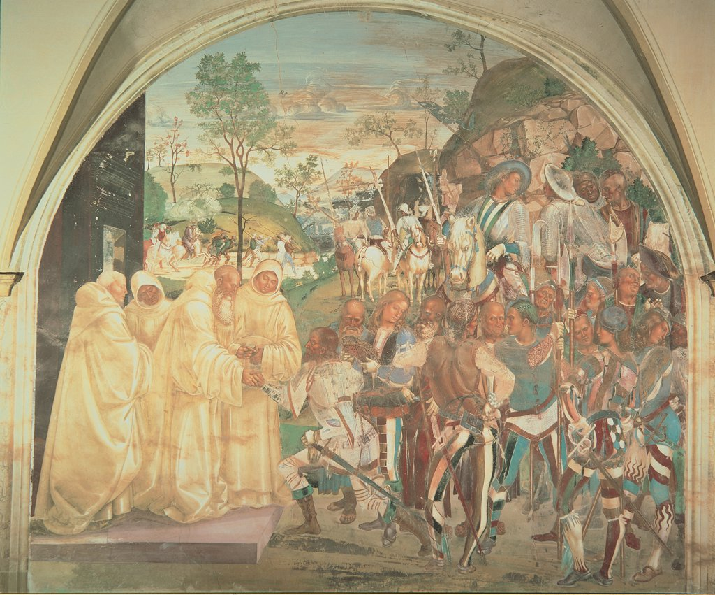 Benedict Recognizing and Welcoming Totila, by Signorelli Luca, 1497 - 1498, 15th Century, fresco. Italy, Tuscany, Chiusure, Siena, Monte Oliveto Maggiore Abbey. Whole artwork. St Benedict welcoming Totila Goth general monks dressed in a white habit army armed men on horseback on foot soldiers horsemen landscape. : Stock Photo