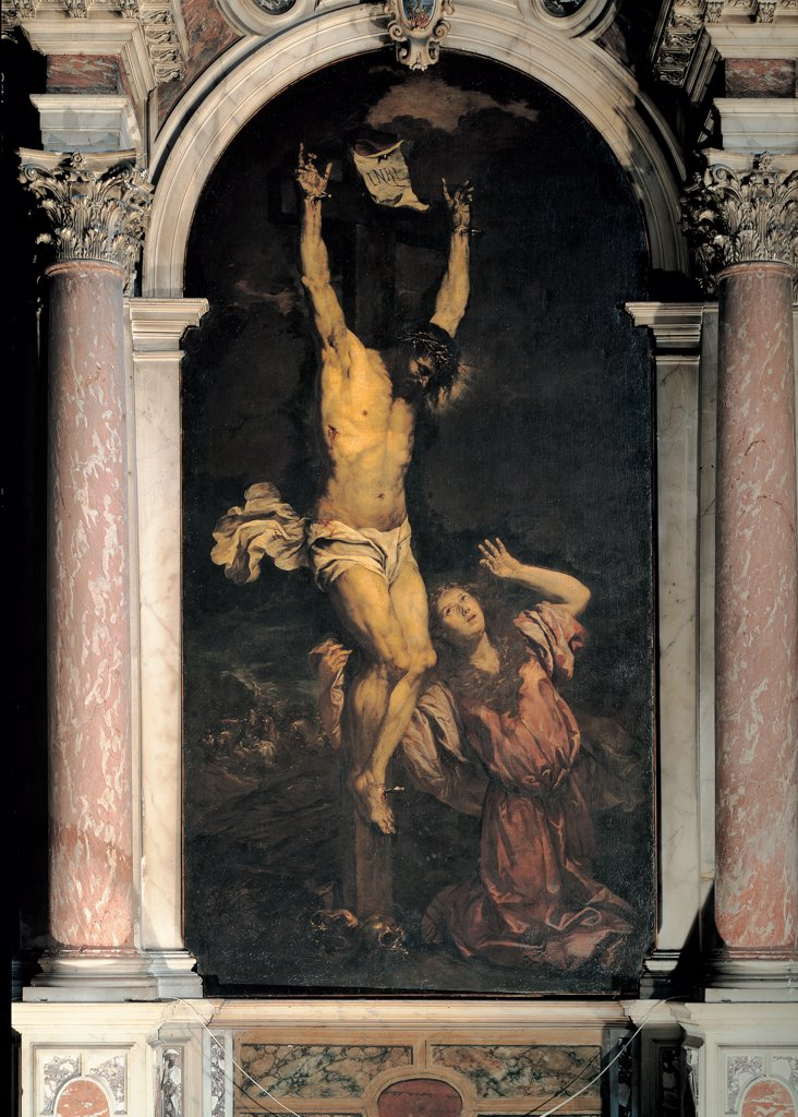 Stock Photo: 1899-31451 Mary Magdalene at the Foot of the Cross, by Langetti Giambattista, 1663 - 1664, 17th Century, oil on canvas. Italy: Veneto: Venice: Museum of 18th - Century Venice: in deposito. Whole artwork. Jesus Christ Crucified St Mary Magdalene kneeling woman columns