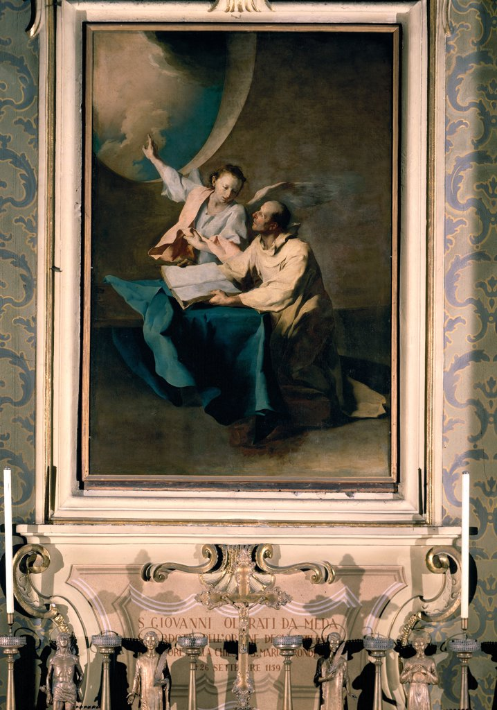 Stock Photo: 1899-31460 Vision of the Blessed Giovanni da Meda, by Petrini Giuseppe Antonio, 1752, 18th Century, oil on canvas. Italy, Lombardy, Como, San Gerolamo Emiliani Church. Whole artwork. Vision of the Blessed Giovanni da Meda angel sky oculus clouds book drapery: draping light shadow beige brown hues: tones light blue: azure white black.