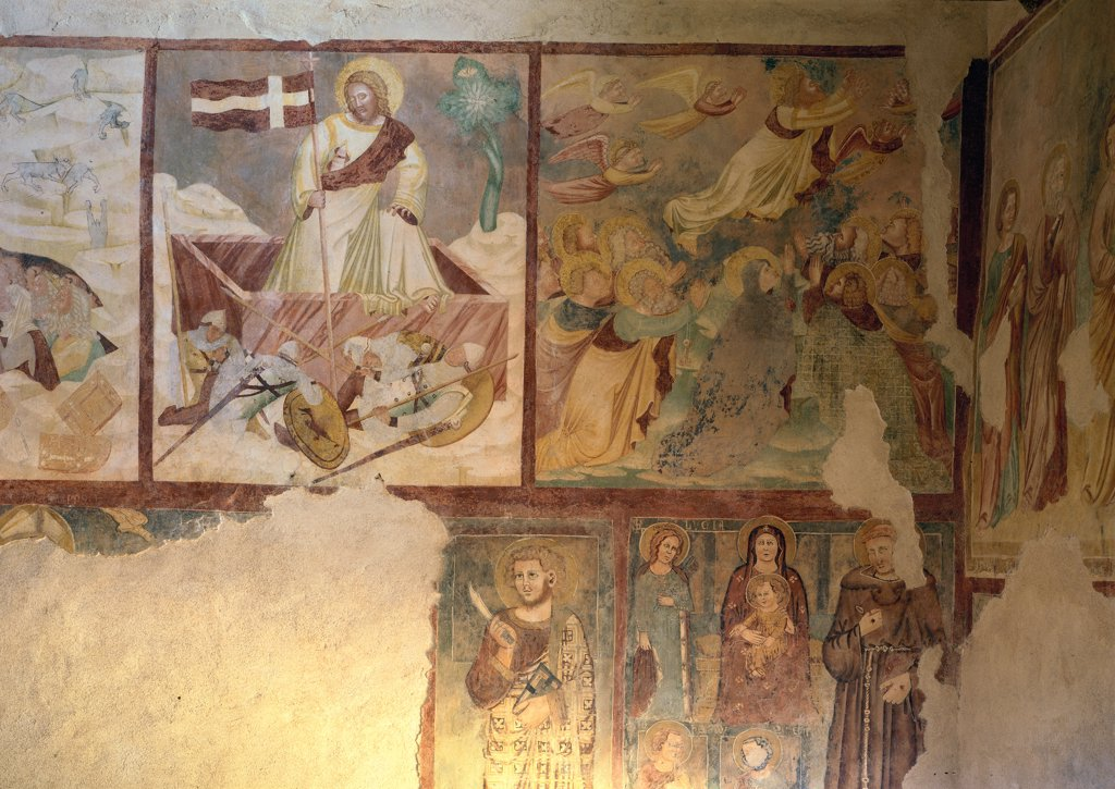 Resurrection, by Master of the Stories of the Passion in San Pietro in Briano, 17th Century, fresco. Italy, Veneto, Cazzano di Tramigna, Verona, San Pietro in Briano church. Whole artwork. Descent to Limbo and Resurrection pictorial registers vexillum: standard angels faithful saints green white red yellow pink orange brown brownish hues: tones. : Stock Photo