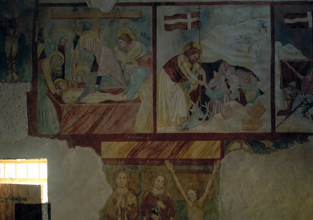 Stock Photo: 1899-31466 Deposition and Descent to Limbo, by Master of the Stories of the Passion in San Pietro in Briano, 17th Century, fresco. Italy, Veneto, Cazzano di Tramigna, Verona, San Pietro in Briano church. Whole artwork. Pictorial registers Descent to Limbo vexillum: standard Jesus Christ sarcophagus cross group Deposition saints martyr.