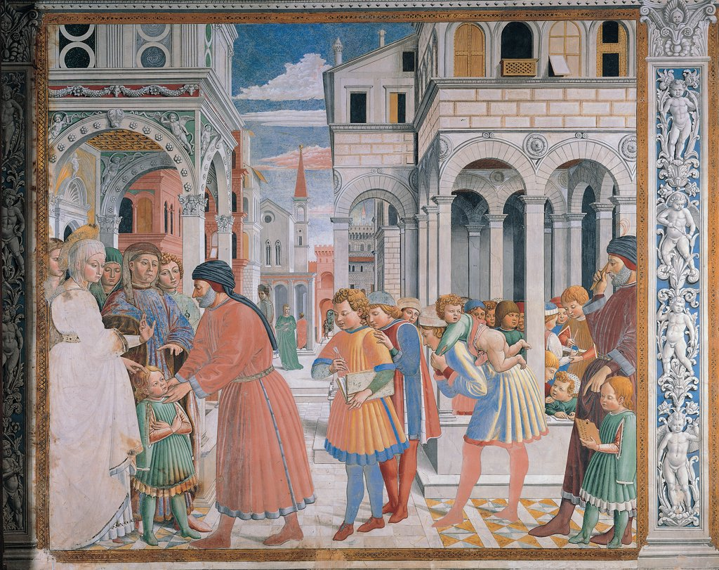 Stories of St Augustine ofThe school of Tagaste, by Benozzo di Lese di Sandro known as Benozzo Gozzoli, 1465 - 1465, 15th Century, fresco. Italy, Tuscany, San Gimignano, Siena, St Augustine church, choir. Full view. St Augustine is given to the grammar teacher. Palaces people pillars arches red blue white orange. : Stock Photo