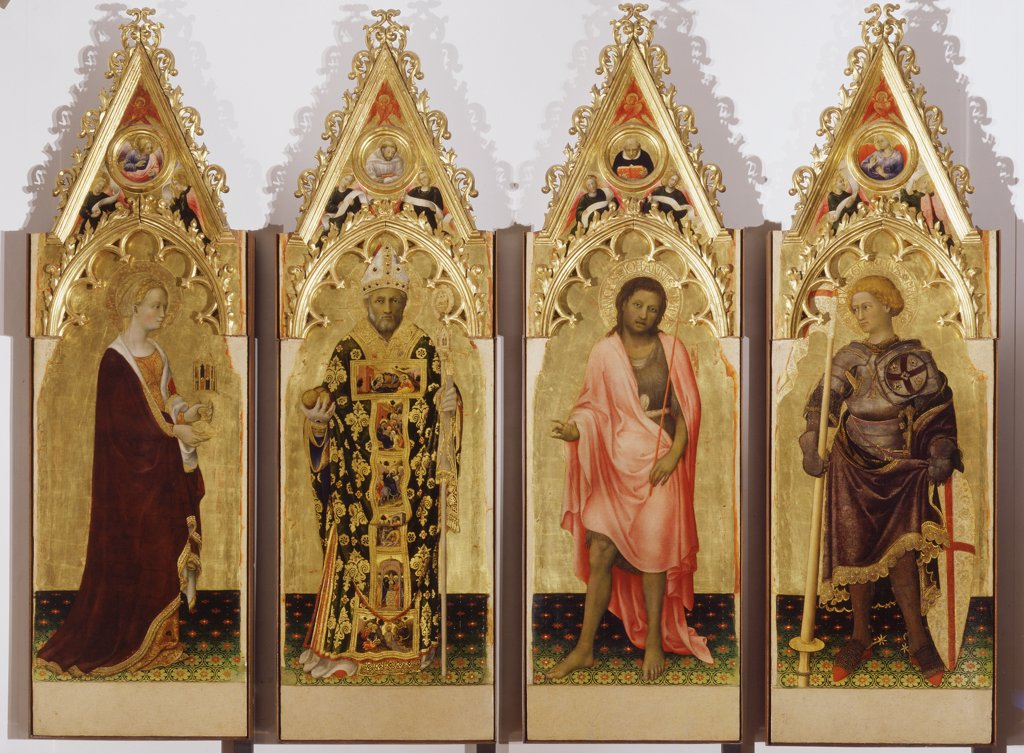 Quaratesi Polyptych, by Gentile di Niccolo known as Gentile da Fabriano, 1425, 15th Century, panel. Italy, Tuscany, Florence, Uffizi Gallery. Whole artwork. St Mary Magdalene balm vase ointment St Nicholas of Bari bishop tiara pastoral staff vestments chasuble stole three pommels balls St John the Baptist cross camel's hair cloth mantle: cloak St George soldier knight. : Stock Photo
