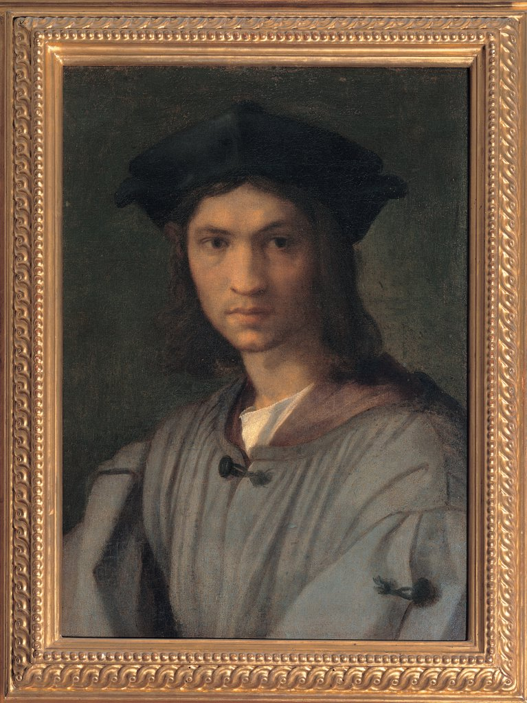 Presumed Portrait of Baccio Bandinelli (or Self-portrait), by d'Agnolo Andrea known as Andrea del Sarto, 1513 - 1515, 16th Century, panel. Italy, Tuscany, Florence, Uffizi Gallery. Whole artwork. Male portrait young man Baccio Bandinelli humanist. : Stock Photo