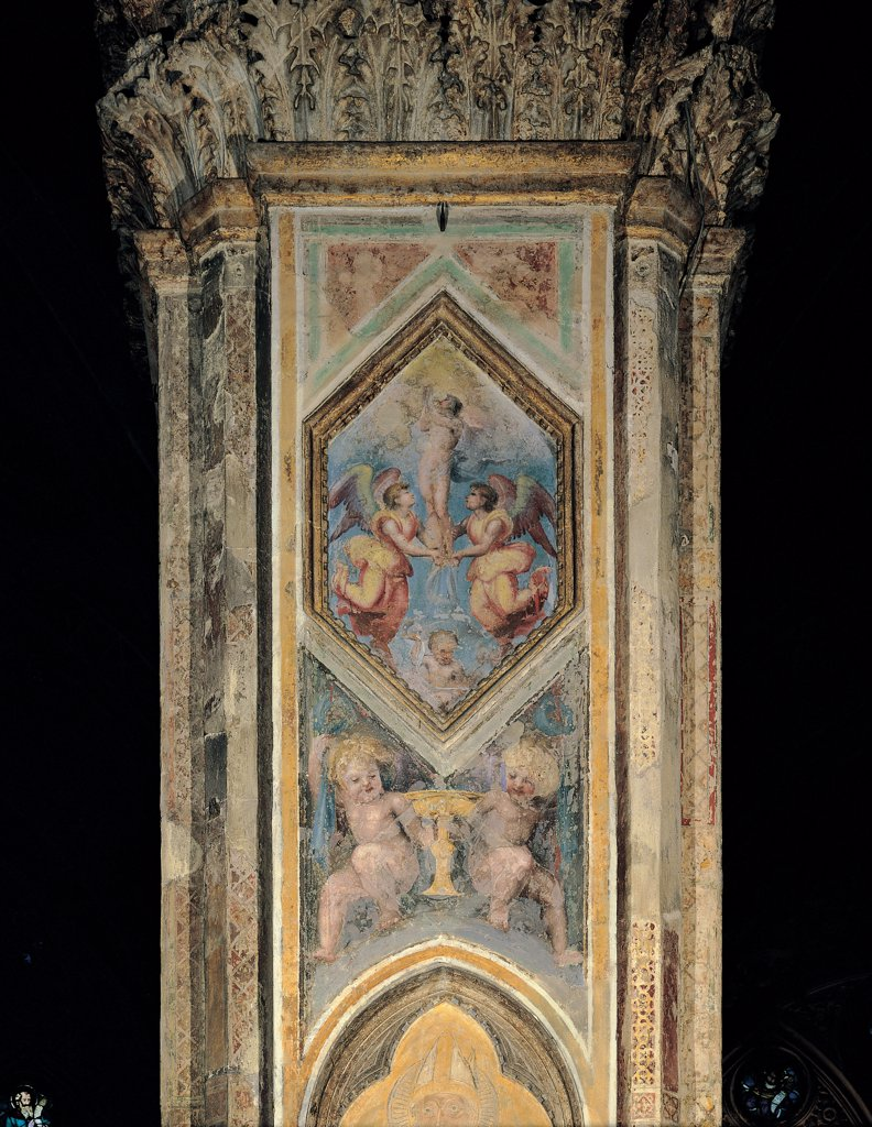 Mary Magdalene Taken up to Heaven by Angels, by d'Agnolo Andrea known as Andrea del Sarto, 1500 - 1510, 16th Century, fresco. Italy, Tuscany, Florence, Orsanmichele Church. Whole artwork. Decoration pilaster strip Mary Magdalene small angels square rhombus putti: cherubs cup. : Stock Photo
