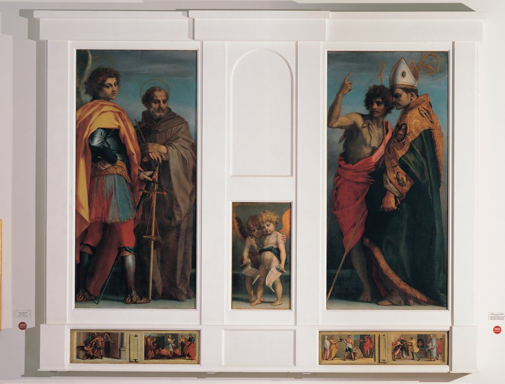 Vallombrosa altarpiece, by d'Agnolo Andrea known as Andrea del Sarto, 1528, 16th Century, panel. Italy, Tuscany, Florence, Uffizi Gallery. Whole artwork. Altarpiece polyptych panels saints St Andrew cuirass: armor footwear sword monk saint habit: tunic cross putti: cherubs St John the Baptist processional cross bishop saint tiara cope. : Stock Photo