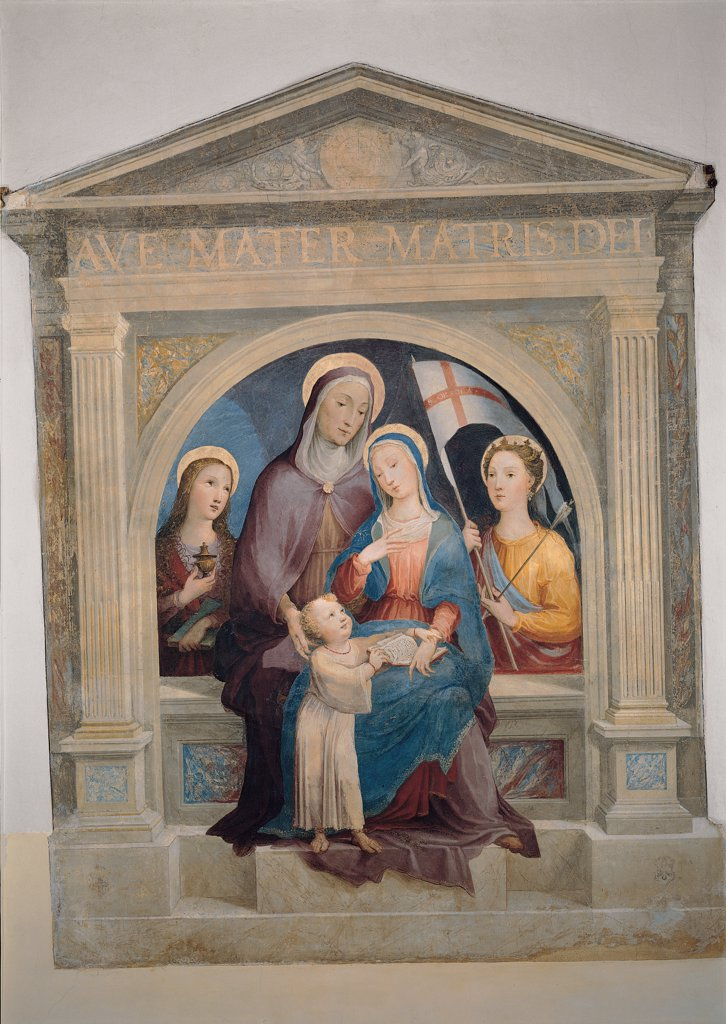 Stock Photo: 1899-31512 St Anne with Mary Magdalene and St Ursula, by Domenico di Giacomo di Pace known as Beccafumi Domenico, 16th Century, fresco. Italy, Tuscany, Siena, San Girolamo in Campansi former convent. Whole artwork. Shrine: aedicula pillars columns tympanum inscription women Virgin Mary Mother Child Jesus: Baby Jesus: Christ Child St Anne aureole: halo St Ursula cross standard arrow Magdalene heart yellow blue red white.