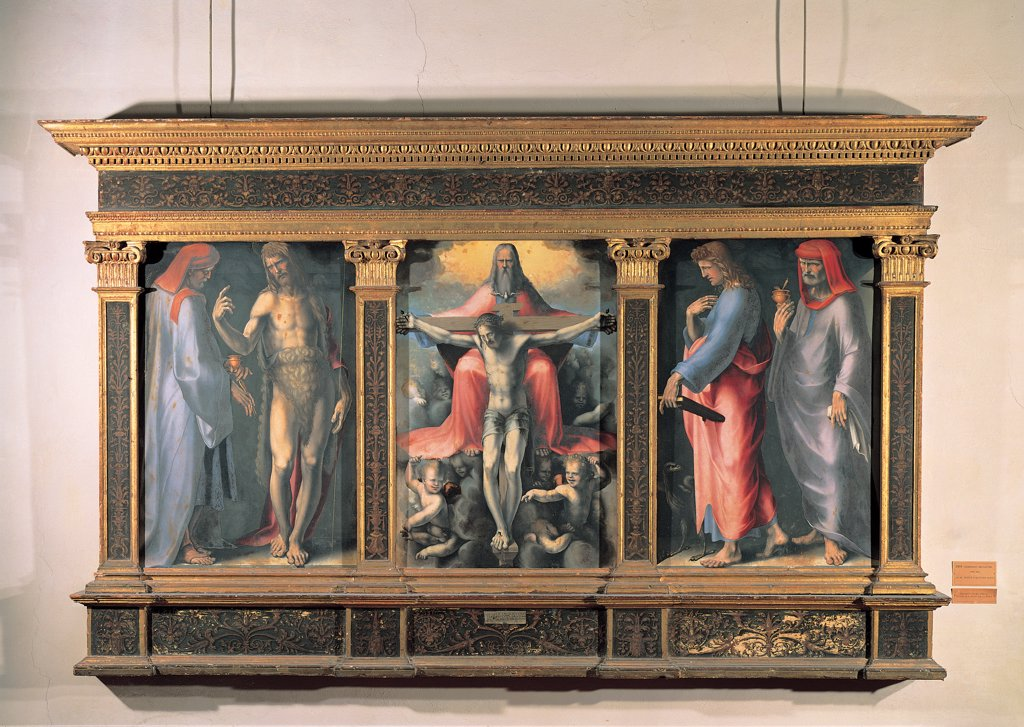 Stock Photo: 1899-31515 Trinity triptych, by Domenico di Giacomo di Pace known as Beccafumi Domenico, 1513, 16th Century, tempera and oil on canvas. Italy, Tuscany, Siena, National Gallery of Art. Whole artwork. Trinity triptych central panel compartment wooden frame Christ died cross procession of angels clouds light Father God beard old man dove the Holy Spirit red grey yellow iridescence compartments Saints Cosmas and.