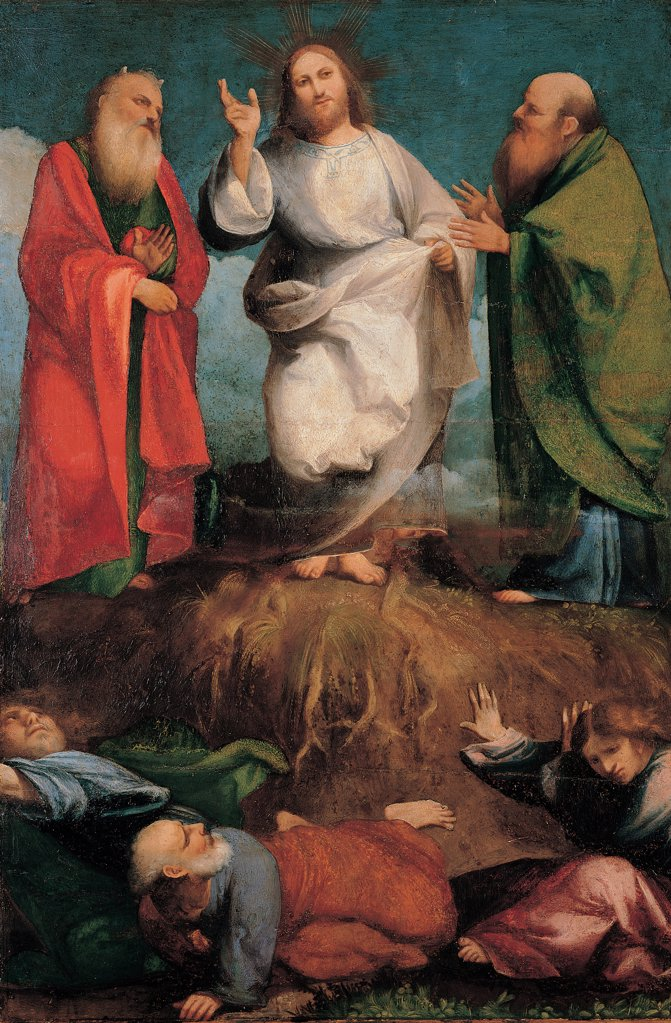 The Transfiguration, by Sacchis Giovanni Antonio de known as il Pordenone, 1510 - 1512, 16th Century, tempera on panel. Italy, Lombardy, Milan, Brera Art Gallery. Whole artwork. Jesus Christ dress: garment old prophets, Moses, horns Elijah beard mantles: cloaks drapery: draping Apostles: Disciples Peter James John fright wonder white red green blue pink. : Stock Photo