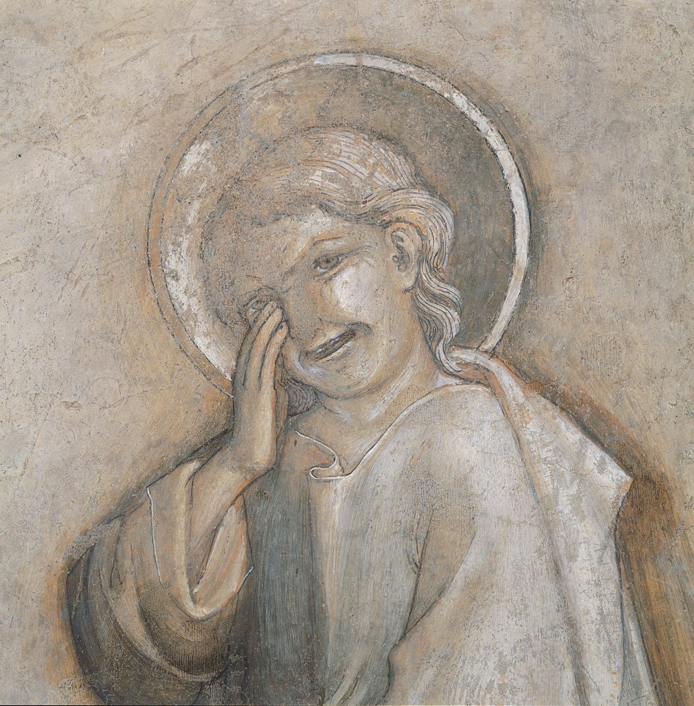 Stock Photo: 1899-31526 Crucifixion, by Salimbeni Jacopo, 15th Century, fresco torn down. Italy, Umbria, Perugia, National Gallery of Umbria. Detail. Saint St John the Evangelist mourning weeping: tears grief suffering.