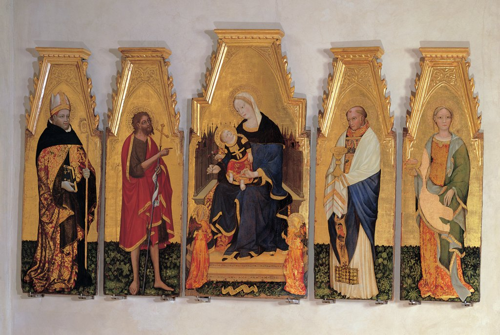 Stock Photo: 1899-31529 Madonna and Child with Angels, Sts Augustine, John, Liberatore and Agatha, by Lello da Velletri, 15th Century, tempera on board. Italy, Umbria, Perugia, National Gallery of Umbria. Whole artwork. Polyptych triptych square cusps colors gold Madonna Holy Virgin Mary angels St Augustine St John the Baptist St Liberatore St Agatha saints throne liturgical cassock signs emblems attributes women men meadow flow.