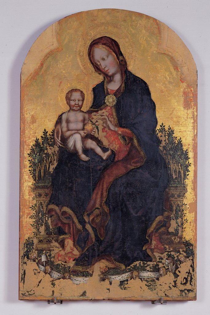 Stock Photo: 1899-31530 Madonna and Child with Angels, by Gentile di Niccolo known as Gentile da Fabriano, 15th Century, tempera on board. Italy, Umbria, Perugia, National Gallery of Umbria. Whole artwork. Panel Madonna Holy Virgin Mary mother son Child Jesus Christ family pomegranate fruit symbol Passion death throne plants leaves broach pin drapery halos: aureoles gold blue red inscriptions musical notes.