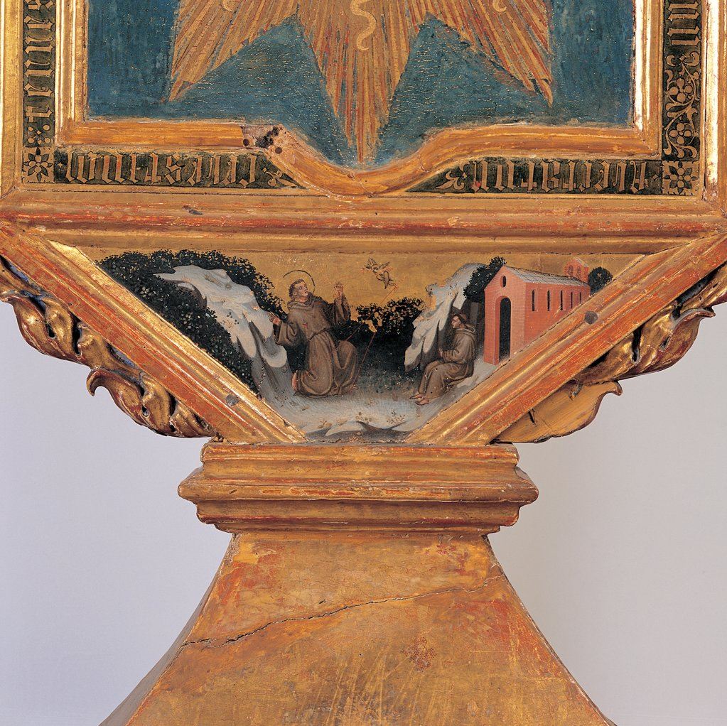 Stock Photo: 1899-31533 Banner, by Master of Staffolo, 15th Century, tempera on board. Italy, Umbria, Assisi, Perugia, Treasure Museum, San Francesco Basilica. Detail. Banner: standard quadrangular pedestal verso saint stigmata of St Francis letters inscription gold letters rays radial pattern volutes ornamentation decoration Doric letters fretwork carvings enamel.