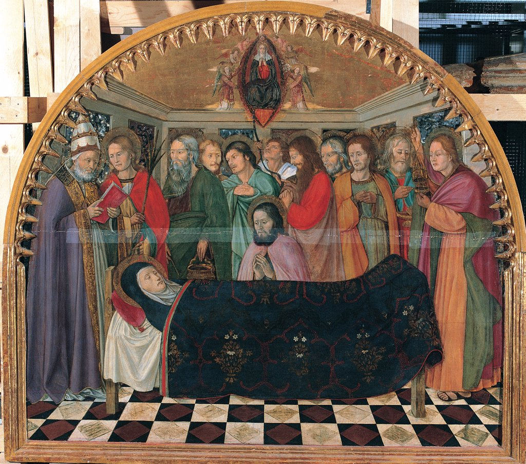 Stock Photo: 1899-31534 Dormitio Virginis, by Antonio da Fabriano, 15th Century, tempera and gold on board. Italy, Marche, Fabriano, Ancona, National Gallery of Art. Whole artwork. Death sleep bed catafalque death-bed priest rite mandorla angels Virgin Holy Mary Madonna doctors of the Church saints interior colors floor polychromatic marbles.