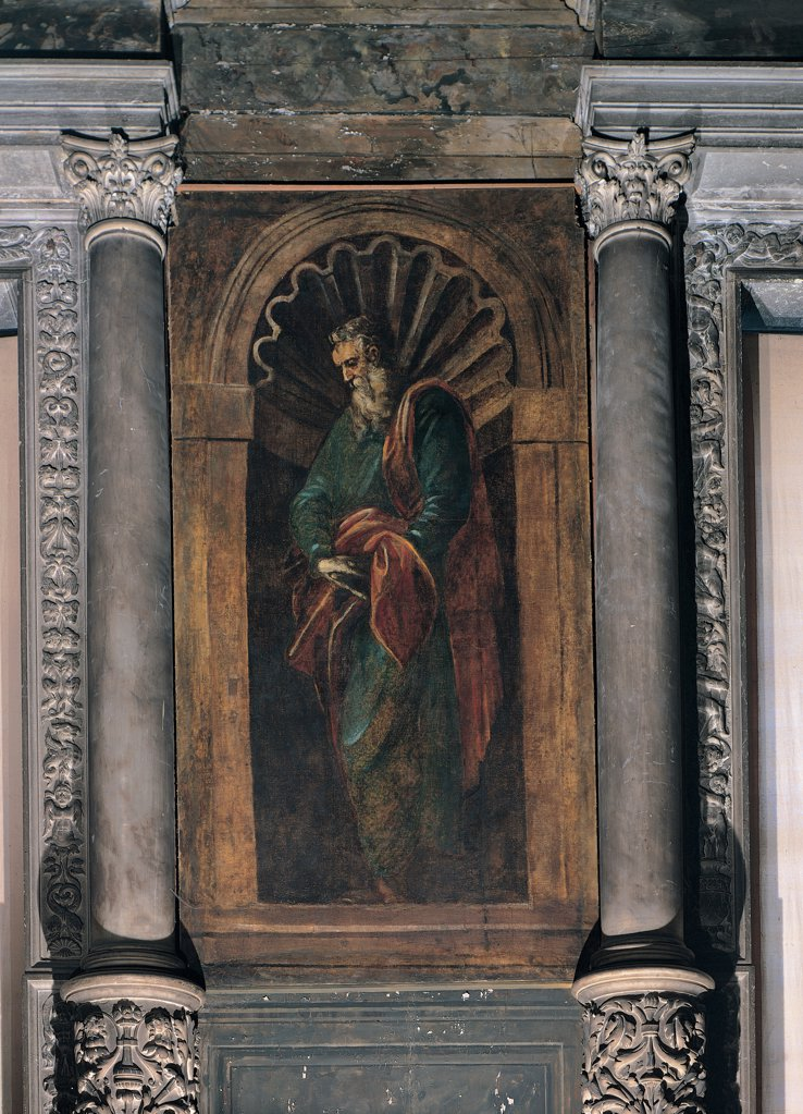 Stock Photo: 1899-31549 Prophet, by Robusti Jacopo known as Tintoretto, 1566, 16th Century, fresco. Italy, Veneto, Venice, Scuola Grande di San Rocco. Whole artwork. Niche two Corinthian columns with decorated cylindrical plinth fresco with a trompe l'oeil niche standing prophet in profile iconography of the old wise man.