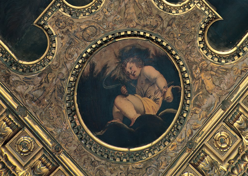 Stock Photo: 1899-31553 Summer, by Robusti Jacopo known as Tintoretto, 1564 - 1567, 16th Century, oil on canvas. Italy, Veneto, Venice, Scuola Grande di San Rocco, Sala dell'Albergo, ceiling. Whole artwork. Clipeus male figure nude infant seated drapery: draping tufts of grass luxuriance fertility.