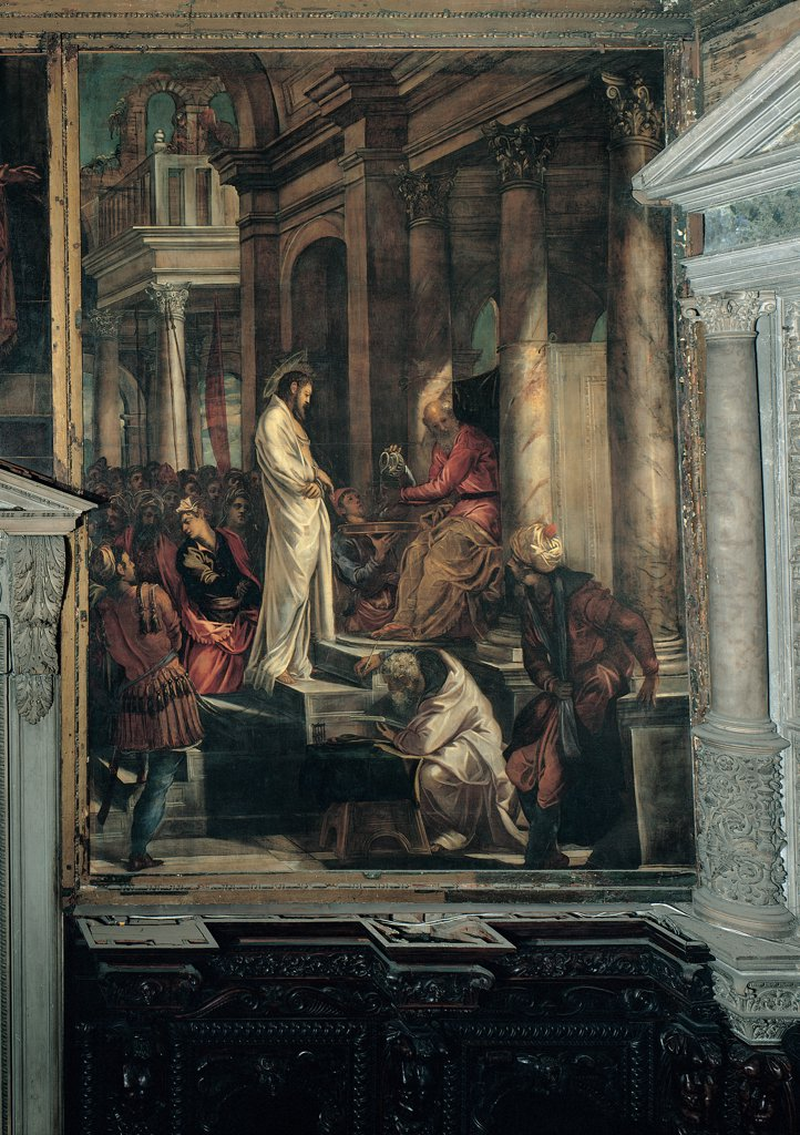 Stock Photo: 1899-31568 Christ before Pilate, by Robusti Jacopo known as Tintoretto, 1566 - 1567, 16th Century, oil on canvas. Italy, Veneto, Venice, Scuola Grande di San Rocco, Sala dell'Albergo. Whole artwork. Jesus Christ halo cloak: mantle sheet steps stairs onlookers bystanders small figures crowd Pontius Pilate Roman governor bowl jug water trial man crouching scribe palaces columns capitals.