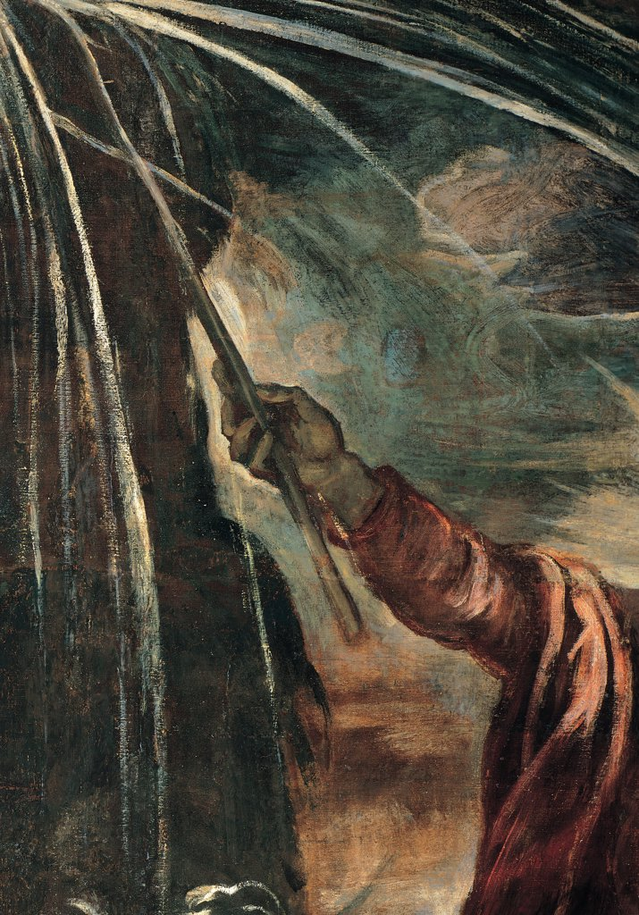 Moses Draws Water from a Rock, by Robusti Jacopo known as Tintoretto, 1577, 16th Century, fresco. Italy, Veneto, Venice, Scuola Grande di San Rocco, Upper Hall. Detail. Centre mid-field Moses' hand drawing water from rock. : Stock Photo