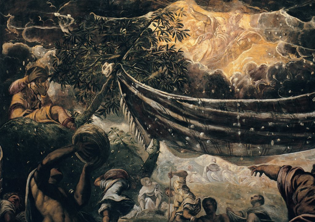 The Miracle of the Manna, by Robusti Jacopo known as Tintoretto, 1577, 16th Century, fresco. Italy, Veneto, Venice, Scuola Grande di San Rocco, Upper Hall. Detail. Miracle shower of manna cloth: drape clouds sky shaft of light God the Father men Israelites. : Stock Photo