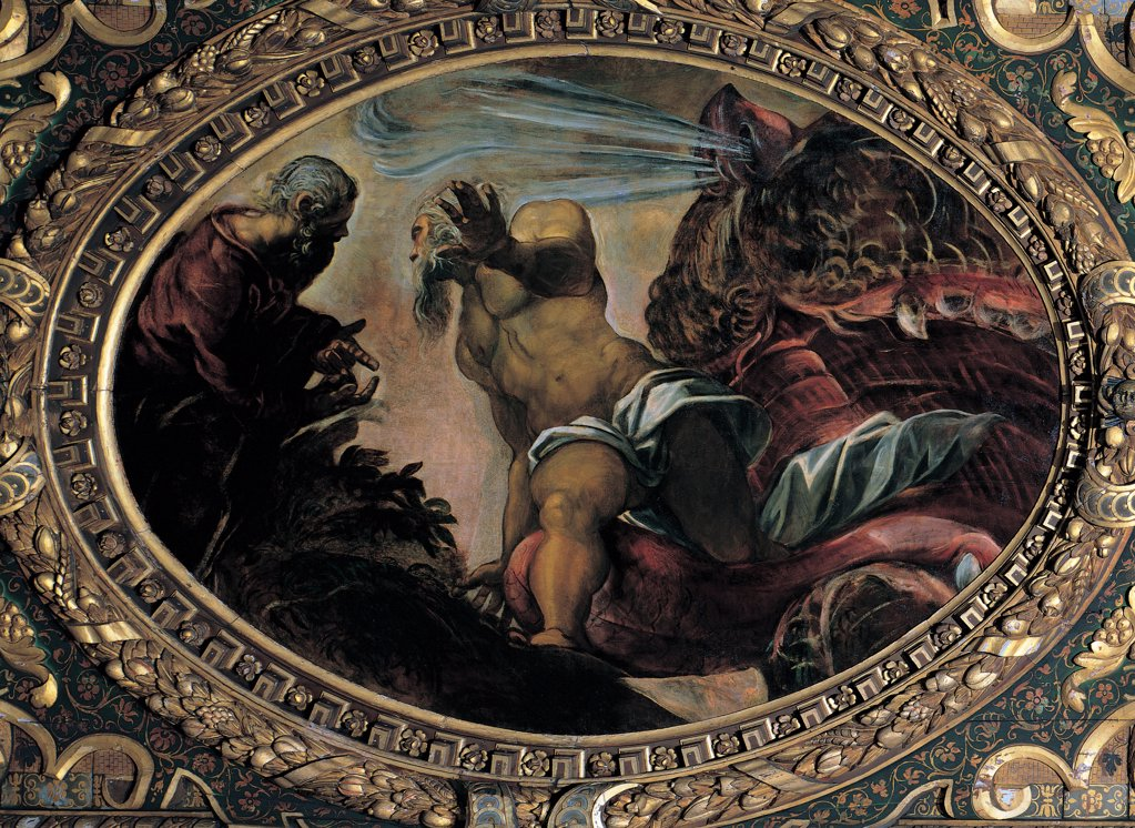 Stock Photo: 1899-31608 Jonah Leaves the Whale's Belly, by Robusti Jacopo known as Tintoretto, 1577, 16th Century, fresco. Italy, Veneto, Venice, Scuola Grande di San Rocco, Upper Hall. Whole artwork. Tondo sea monster whale jaws old man Jonah carved wooden frame red white chiaroscuro.