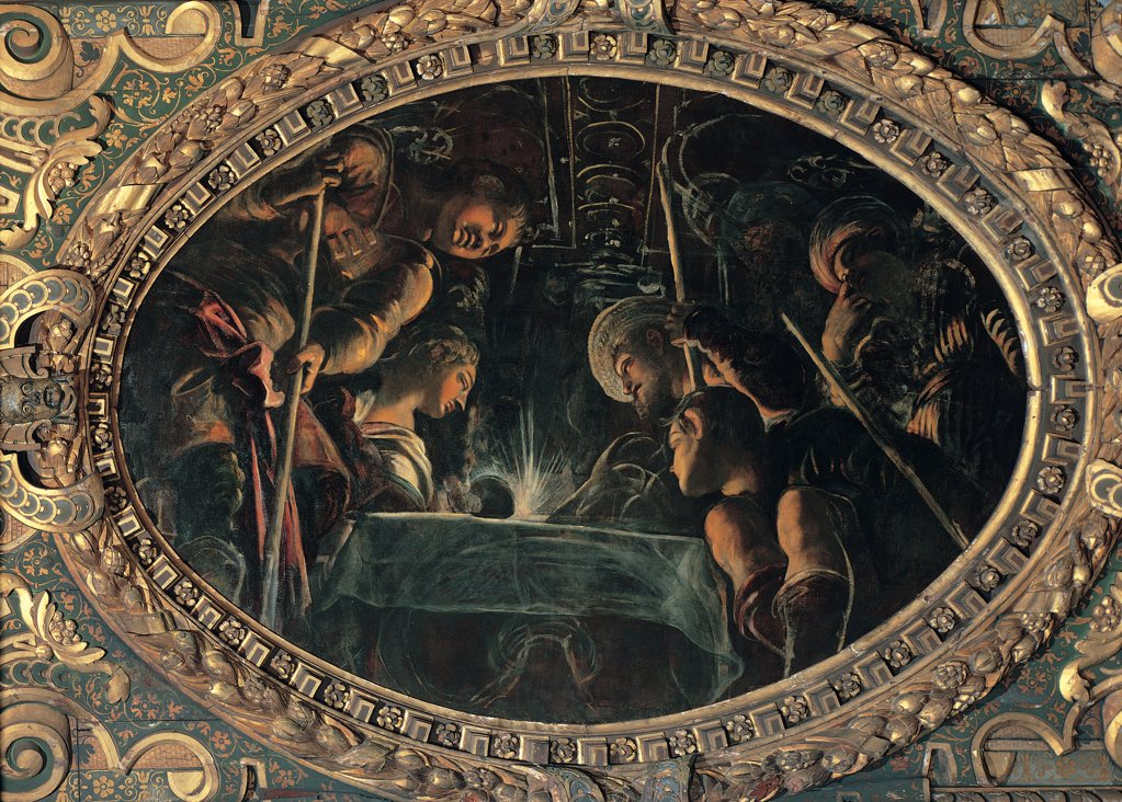 The Passover, by Robusti Jacopo known as Tintoretto, 1577, 16th Century, fresco. Italy, Veneto, Venice, Scuola Grande di San Rocco, Upper Hall. Whole artwork. Tondo men woman table light coffered ceiling dim light gilded carved wooden frame. : Stock Photo