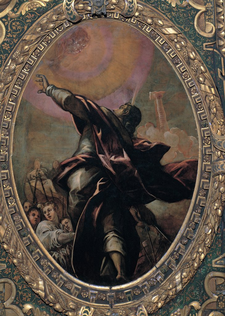 The Pillar of Fire, by Robusti Jacopo known as Tintoretto, 1577, 16th Century, fresco. Italy, Veneto, Venice, Scuola Grande di San Rocco, Upper Hall. Whole artwork. Ceiling tondo Israelites people men prophet guide clothes: dress drapery: draping sky bright light clouds fire orange pink. : Stock Photo