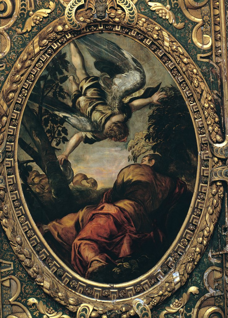 Elijah Fed by the Angel, by Robusti Jacopo known as Tintoretto, 1577, 16th Century, fresco. Italy, Veneto, Venice, Scuola Grande di San Rocco, Upper Hall. Whole artwork. Ceiling tondo Elijah prophet man shoulders clothes tree Mount Sinai angel food sky bright light yellow red white gray black green gilded carved wooden frame. : Stock Photo