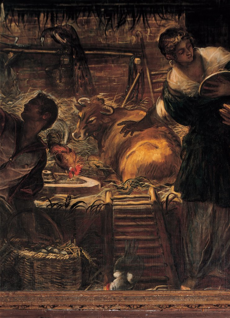 Stock Photo: 1899-31619 The Adoration of the Shepherds, by Robusti Jacopo known as Tintoretto, 1579, 16th Century, fresco. Italy, Veneto, Venice, Scuola Grande di San Rocco, Upper Hall. Detail. Cowshed straw pallets steps ladder dim light man woman ox cock basket eggs straw bright light.