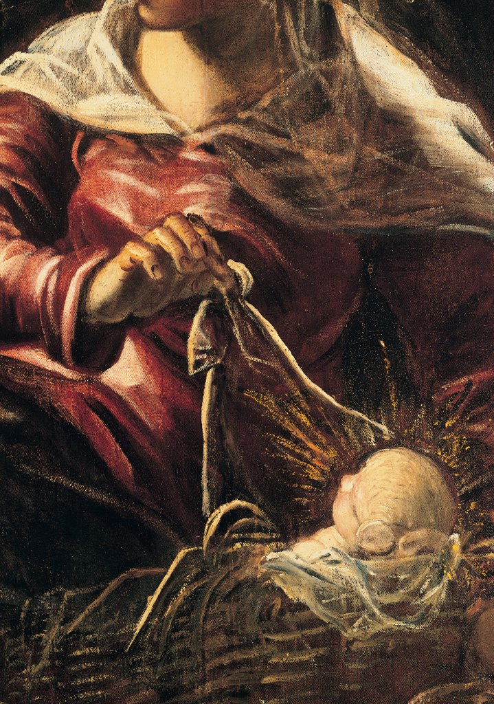 Stock Photo: 1899-31624 The Adoration of the Shepherds, by Robusti Jacopo known as Tintoretto, 1579, 16th Century, fresco. Italy, Veneto, Venice, Scuola Grande di San Rocco, Upper Hall. Detail. Bust Virgin Mary Madonna Child Jesus swaddling bands resting-place light newborn red white black.