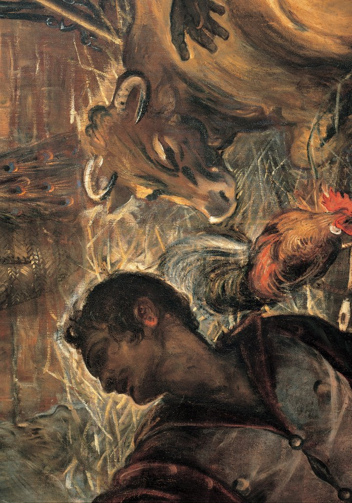 Stock Photo: 1899-31626 The Adoration of the Shepherds, by Robusti Jacopo known as Tintoretto, 1579, 16th Century, fresco. Italy, Veneto, Venice, Scuola Grande di San Rocco, Upper Hall. Detail. Bottom center face of boy hen ox.