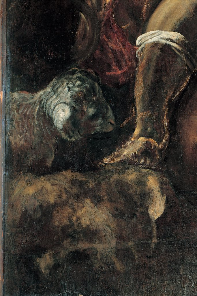 Moses Draws Water from a Rock, by Robusti Jacopo known as Tintoretto, 1577, 16th Century, fresco. Italy, Veneto, Venice, Scuola Grande di San Rocco, Upper Hall. Detail. Leg calf boot rain on rock. : Stock Photo