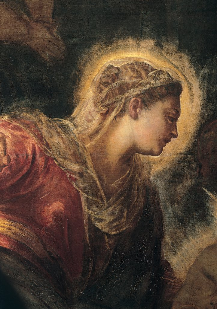Stock Photo: 1899-31648 The Adoration of the Magi, by Robusti Jacopo known as Tintoretto, 1583, 16th Century, fresco. Italy, Veneto, Venice, Scuola Grande di San Rocco, Ground Floor Hall. Detail. Center left face of Virgin Mary Madonna halo: aureole light veil hair tied back red dress: garment looking at Jesus Christ.
