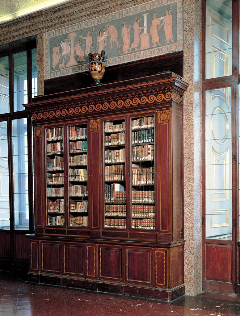 Stock Photo: 1899-31663 Bookcase, by Unknown, 18th Century, Unknow. Italy, Campania, Caserta, Royal Palace. Whole artwork. Bookcase books inlays decoration mock-classical motifs furniture furnishings fittings design doors showcase.