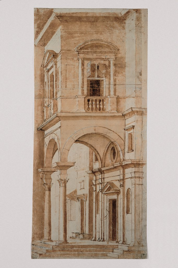 Stock Photo: 1899-31676 Study for a Scenography, by Sanzio Raffaello, 1483 - 1520, 15th Century, pen. Italy, Tuscany, Florence, Uffizi Gallery, Drawings and Prints Cabinet. Whole artwork. Drawing study scenography palace building house portico: porch columns vault doorway tympanum: gable oculus entrance windows balustrade lunette sepia tones: hues.