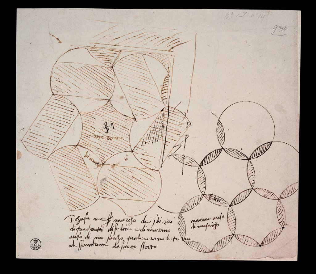 Study for a Floor, by Sanzio Raffaello, 1483 - 1520, 15th Century, ink. Italy, Tuscany, Florence, Uffizi Gallery, Drawings and Prints Cabinet. Whole artwork. Sketch drawing study floor tondoes inlay autograph inscriptions. : Stock Photo