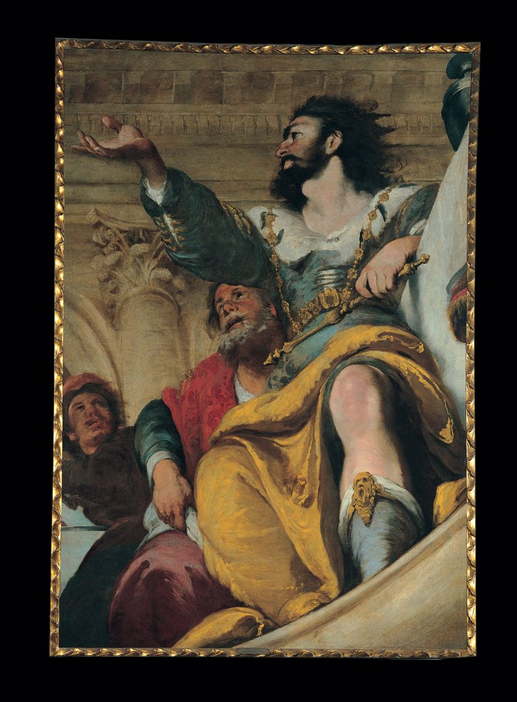 Stock Photo: 1899-31683 The Parable of the Wedding Guest, by Strozzi Bernardo, 17th Century, oil on canvas. Italy, Liguria, Genoa, Private collection. Detail. Parable man king scepter necklace boots drapery: draping folds architectural background half-column Corinthian capital bracket brown hues: tones yellow light blue: azure black red beige.