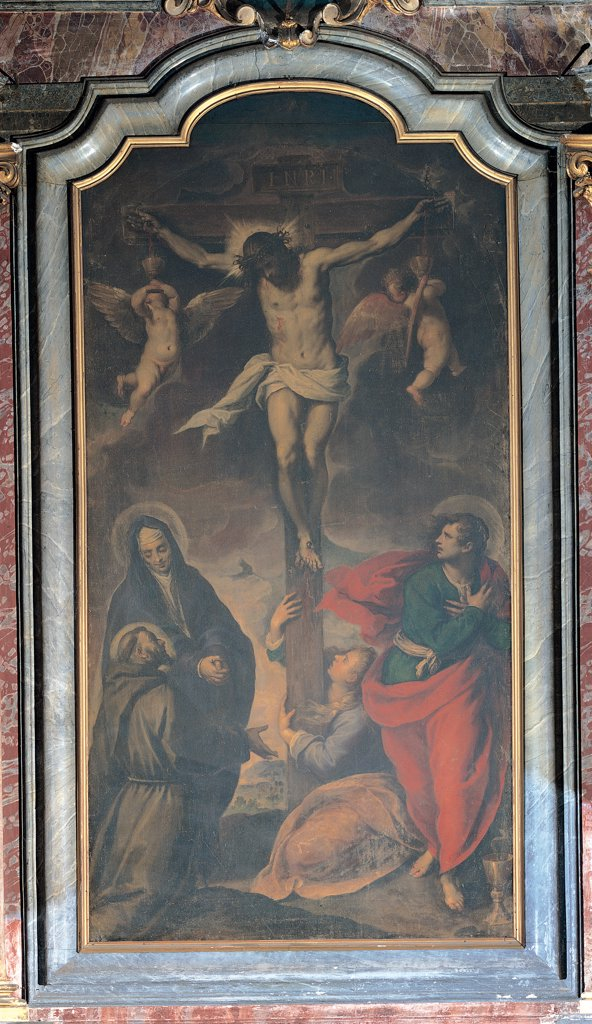 Stock Photo: 1899-31686 Christ on the Cross Worshipped by St Mary Magdalene, the Madonna, St John and St Francis, by Negretti Jacopo know as Palma the Younger, 1548 - 1628, 16th Century, oil on canvas. Italy, Lombardy, Milan, San Pietro Celestino Church. Whole artwork. Jesus Christ crucifix St Mary Magdalene Virgin Mary Madonna St John St Francis angels Crucifixion habit: tunic halo: aureole cloak: mantle red.