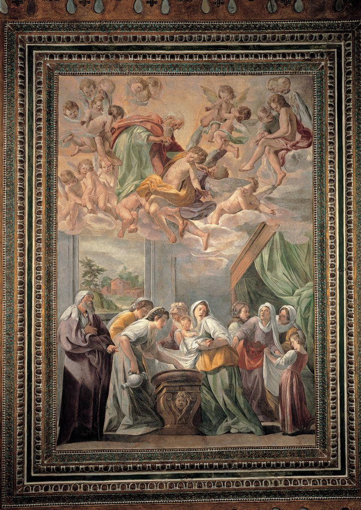 Stock Photo: 1899-31692 The Birth of Mary, by Caracciolo Giovanni Battista know as Battistello, 1600 - 1615, 17th Century, fresco. Italy, Campania, Naples, The Nobili Oratory, Society of Jesus. Whole artwork. Nativity of Mary Virgin Madonna women cradle angels clouds God the Father bed canopy cloth: drape window foreshortened view landscape houses tenuous colors.
