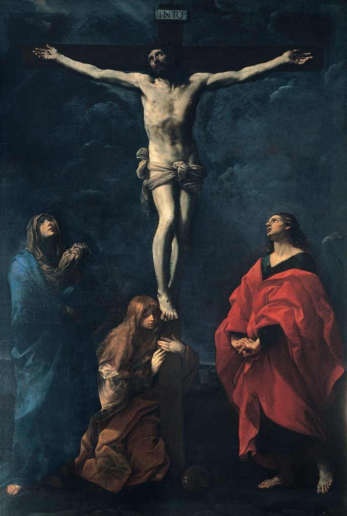Crucifixion, by Reni Guido, 1617, 17th Century, oil on canvas. Italy, Emilia Romagna, Bologna, National Gallery of Art. Whole artwork. Crucifixion Jesus Christ cross saints St John Madonna Virgin Mary St Mary Magdalene kneeling at foot of cross light shadow clouds folds drapery: draping brown hues: tones red blue. : Stock Photo
