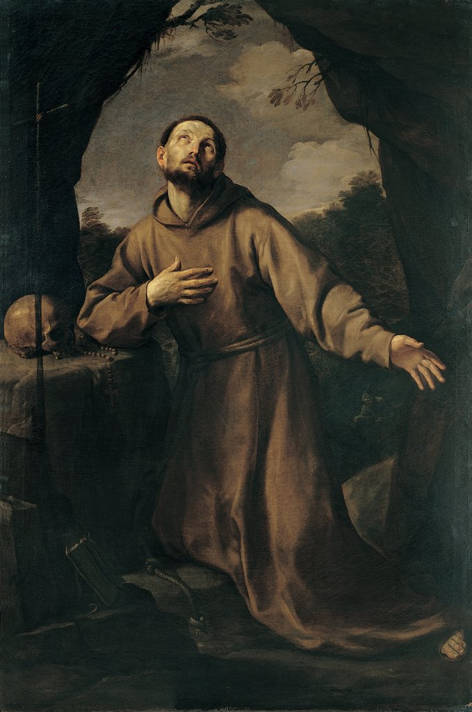St Francis in Ecstasy, by Reni Guido, 1621, 17th Century, oil on canvas. Italy, Campania, Naples, Girolamini Church. Whole artwork. Ecstasy of St Francis tunic: habit skull memento moors cavern cave dark: brown shades: tones: hues black white light shade in the background trees. : Stock Photo