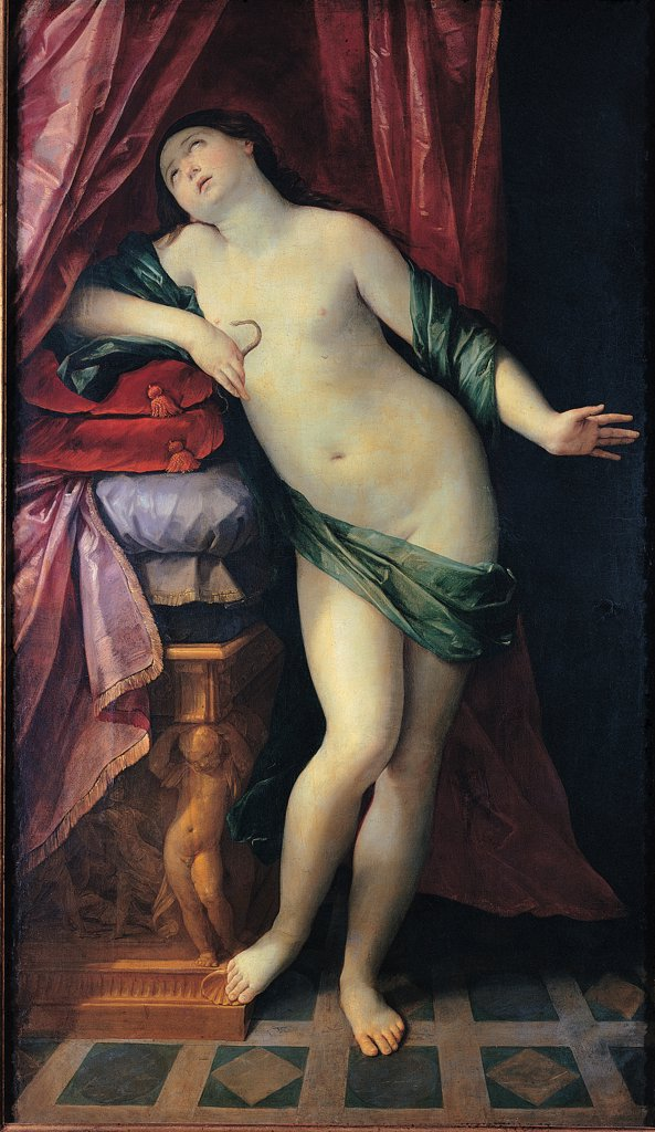 Stock Photo: 1899-31701 The Suicide of Cleopatra, by Reni Guido, 1626, 17th Century, oil on canvas. Italy, Tuscany, Florence, private collection. Whole artwork. Suicide of Cleopatra drape curtain drapery naked: nude asp cushions table with cupids telamons: atlases decorated floor red white green violet: purple pink highlights: heightening light shadow dark: brown shades: tones.
