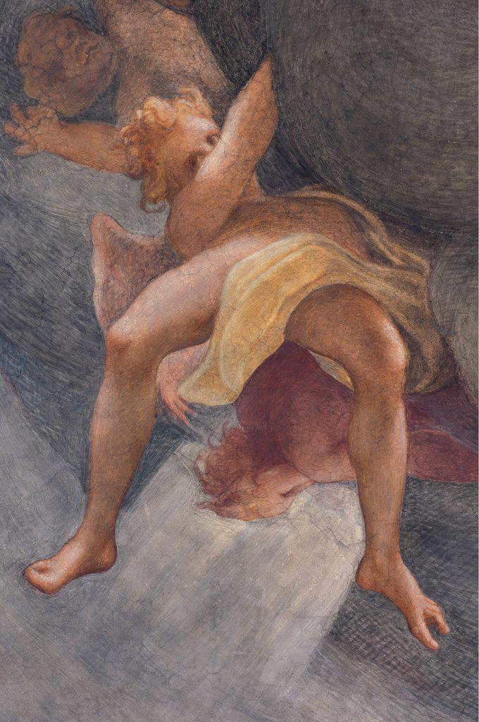 Assumption of the Virgin, by Allegri Antonio known as Correggio, 1526 - 1530, 16th Century, fresco. Italy, Emilia Romagna, Parma, Santa Maria Assunta Cathedral, Dome. Detail. Ephebe naked: nude young boy angel drape. : Stock Photo