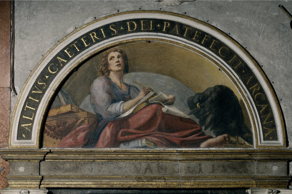 Lunette with St John the Evangelist and the Eagle, by Allegri Antonio known as Correggio, 1520, 16th Century, fresco. Italy, Emilia Romagna, Parma, San Giovanni Evangelista Abbey. Whole artwork. Lunette young man evangelist St John eagle book writing inscription. : Stock Photo