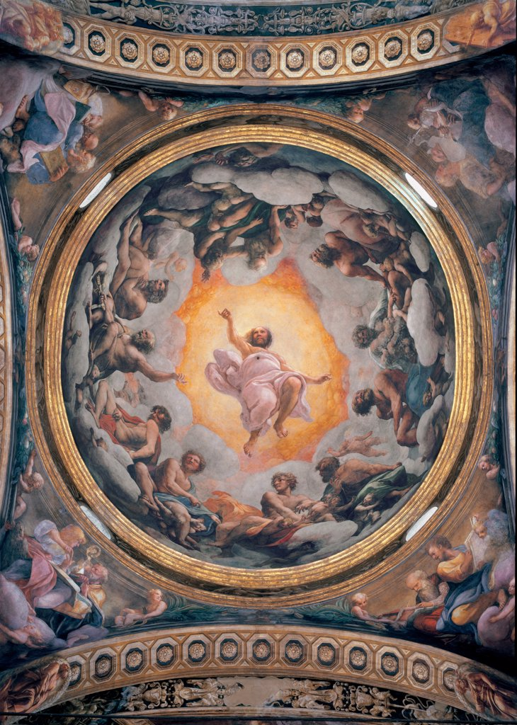 The Vision of St John the Evangelist, the Evangelists and the Doctors of the Church, by Allegri Antonio known as Correggio, 1520 - 1524, 16th Century, fresco. Italy, Emilia Romagna, Parma, San Giovanni Evangelista church, dome. Whole artwork. Saints apostles Jesus Christ in Glory cherubs putti cloud yellow light blue: azure cornice frescoed dome zenithal view. : Stock Photo