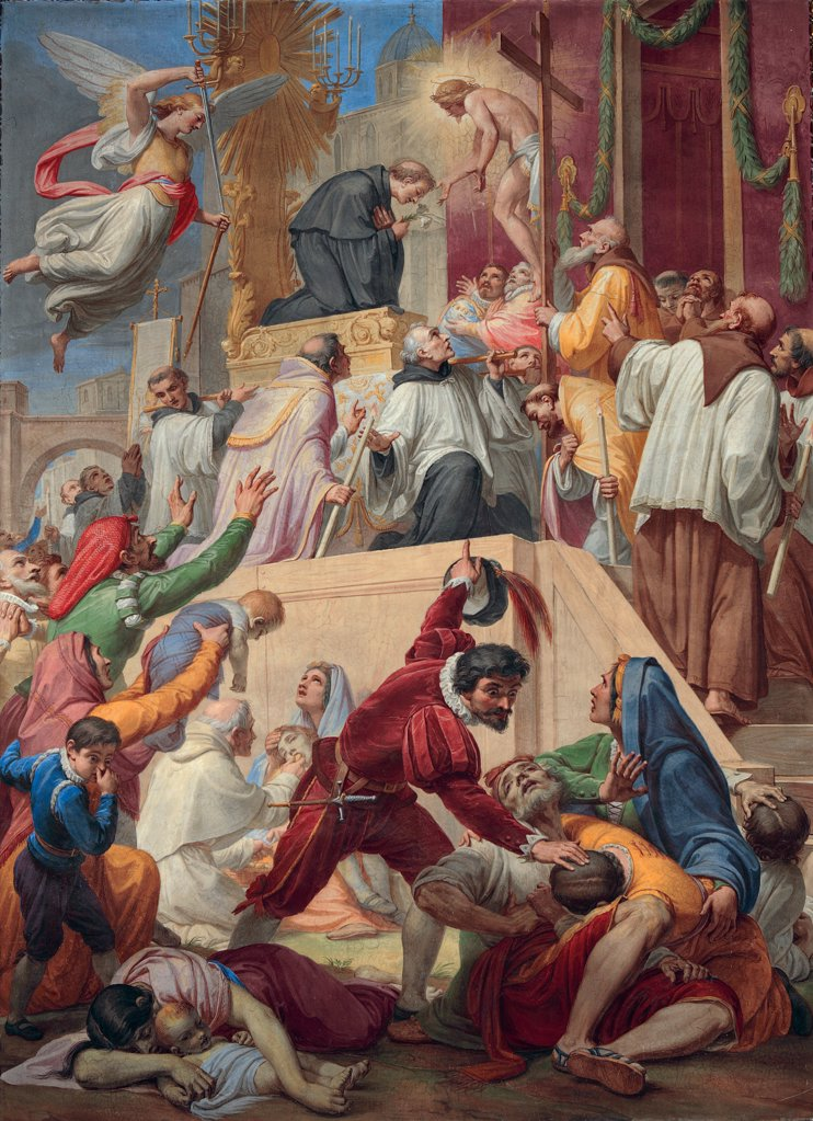 The Miracle of St Nicholas of Tolentino during the Plague of Cordova, by Gagliardi Pietro, 1869, 19th Century, oil on canvas. Italy, Lazio, Rome, Sant'Agostino Church. Whole artwork. Miracle of St Nicholas of Tolentino during the plague of Cordova epidemic disease corpses sick people. : Stock Photo