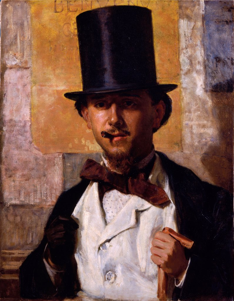 Portrait of Bernardo Celentano, by Morelli Domenico, 1859, 19th Century, oil on canvas. Italy, Lazio, Rome, National Gallery of Modern Art. Whole artwork. Portrait of Bernardo Celentano stick cylinder tie shirt vest glove poster playbill in the background black white dark red brown dark: brown shades: tones: hues yellow pink. : Stock Photo