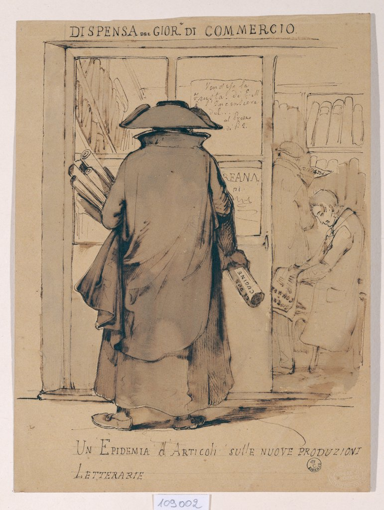 A Spate/Epidemic of Articles, by Moricci Giuseppe, 1849, 19th Century, Unknow. Italy, Tuscany, Florence, Uffizi Gallery, Drawings and Prints Cabinet. Whole artwork. Man wide brim hat scrolls inscriptions shadow study shop-window: show case. : Stock Photo