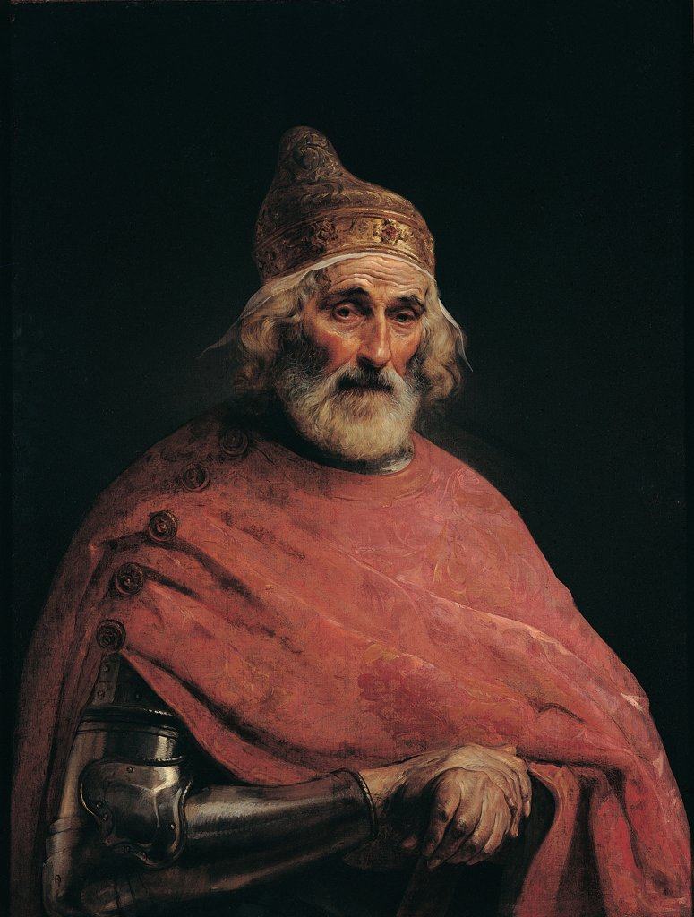 Stock Photo: 1899-31835 Doge Gritti, by Hayez Francesco, 19th Century, oil on canvas. Italy, Lombardy, Milan, Brera Art Gallery. Whole artwork. Man Doge headgear: headdress Corno Doge (Doge's cap) red mantle: cloak silk armor: cuirass clasped hands face white beard dark background.